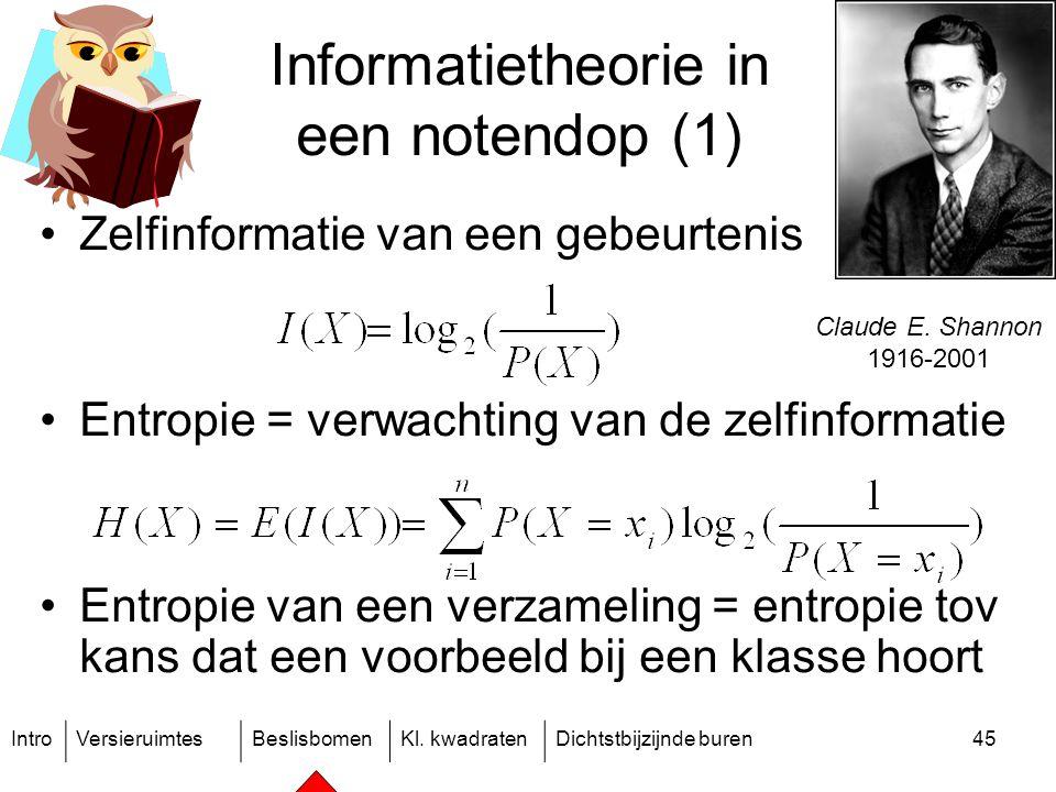 IntroVersieruimtesBeslisbomenKl. kwadratenDichtstbijzijnde buren45 Informatietheorie in een notendop (1) Zelfinformatie van een gebeurtenis Entropie =