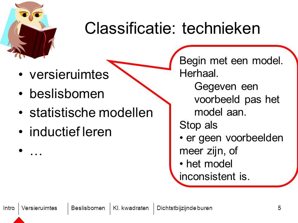 IntroVersieruimtesBeslisbomenKl. kwadratenDichtstbijzijnde buren5 Classificatie: technieken versieruimtes beslisbomen statistische modellen inductief