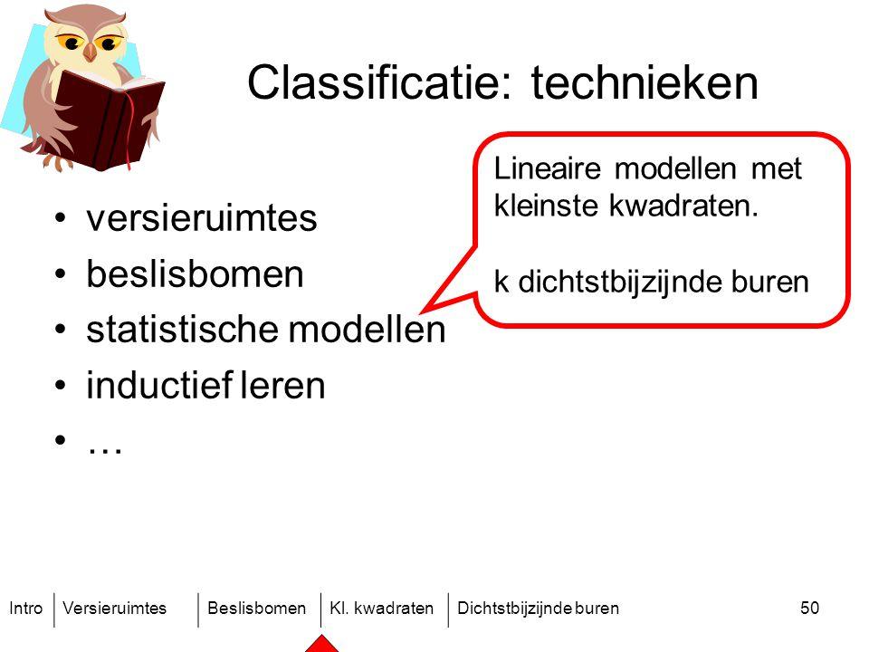 IntroVersieruimtesBeslisbomenKl. kwadratenDichtstbijzijnde buren50 Classificatie: technieken versieruimtes beslisbomen statistische modellen inductief