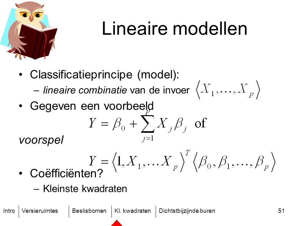 IntroVersieruimtesBeslisbomenKl. kwadratenDichtstbijzijnde buren51 Lineaire modellen Classificatieprincipe (model): –lineaire combinatie van de invoer