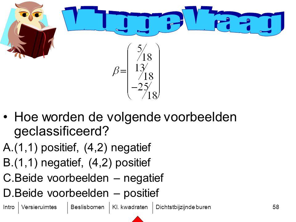 IntroVersieruimtesBeslisbomenKl. kwadratenDichtstbijzijnde buren58 Hoe worden de volgende voorbeelden geclassificeerd? A.(1,1) positief, (4,2) negatie