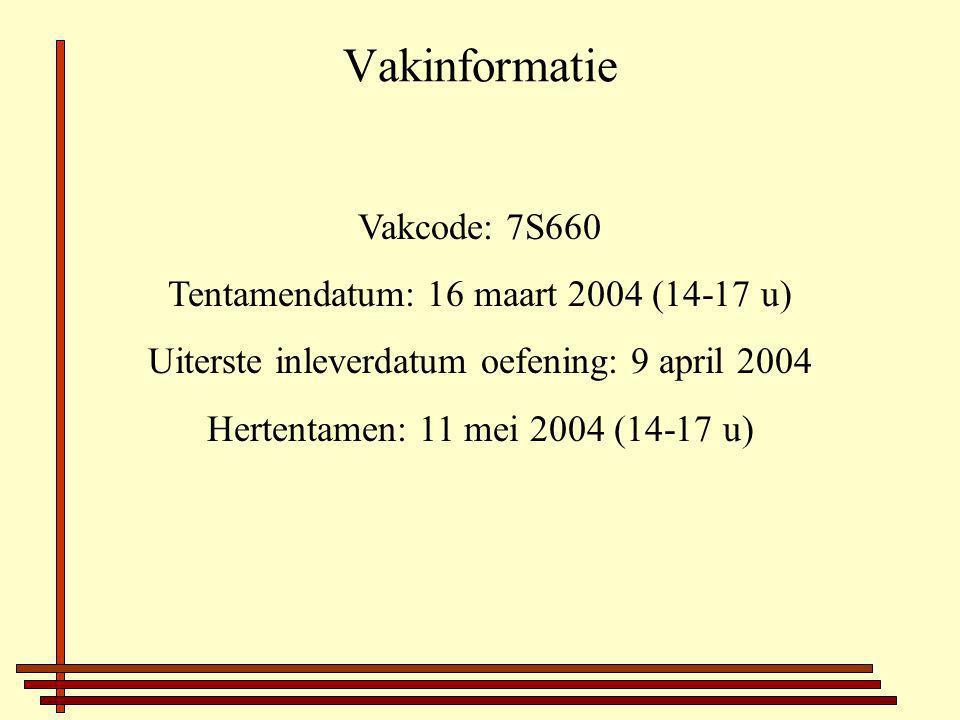 Vakinformatie Vakcode: 7S660 Tentamendatum: 16 maart 2004 (14-17 u) Uiterste inleverdatum oefening: 9 april 2004 Hertentamen: 11 mei 2004 (14-17 u)