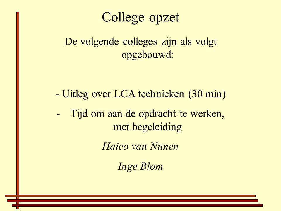 College opzet De volgende colleges zijn als volgt opgebouwd: - Uitleg over LCA technieken (30 min) -Tijd om aan de opdracht te werken, met begeleiding Haico van Nunen Inge Blom