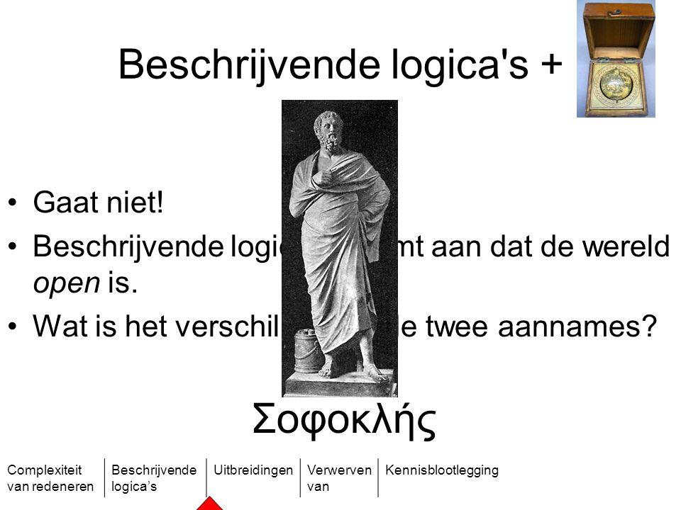 Complexiteit van redeneren Beschrijvende logica's UitbreidingenVerwerven van Kennisblootlegging Beschrijvende logica's + Gaat niet! Beschrijvende logi