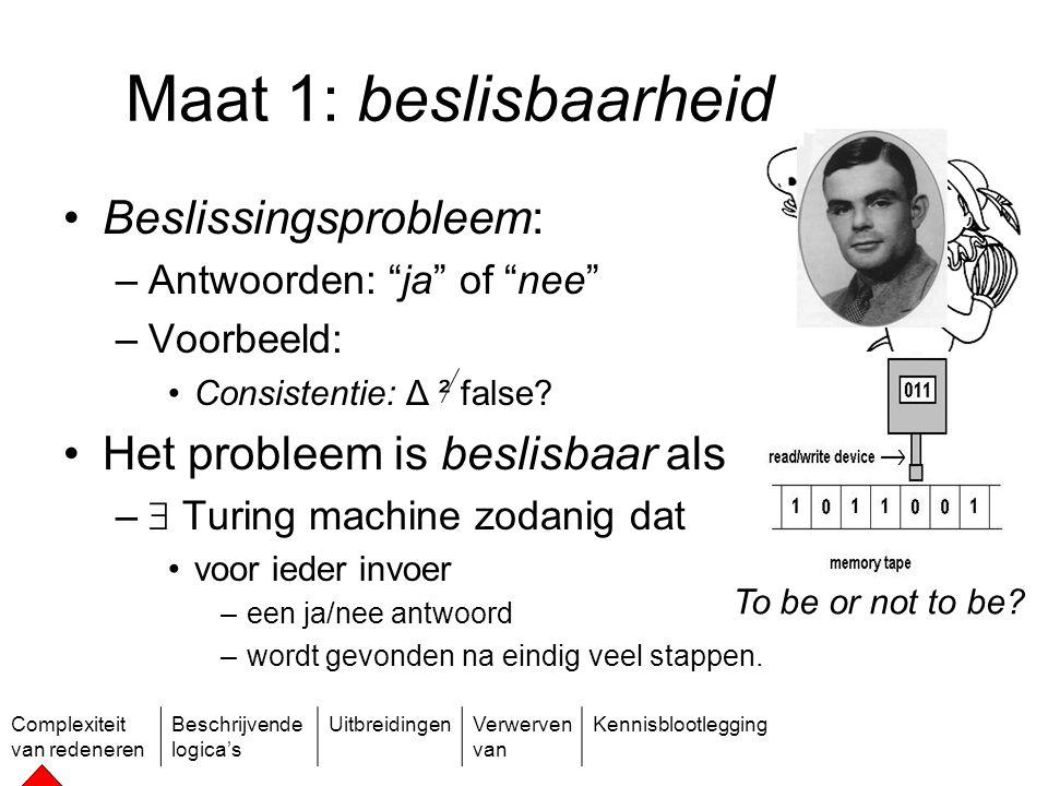 Complexiteit van redeneren Beschrijvende logica's UitbreidingenVerwerven van Kennisblootlegging Slecht nieuws Consistentie is onbeslisbaar voor EOL Alan Turing (1912-1954) Alonzo Church (1903-1995)