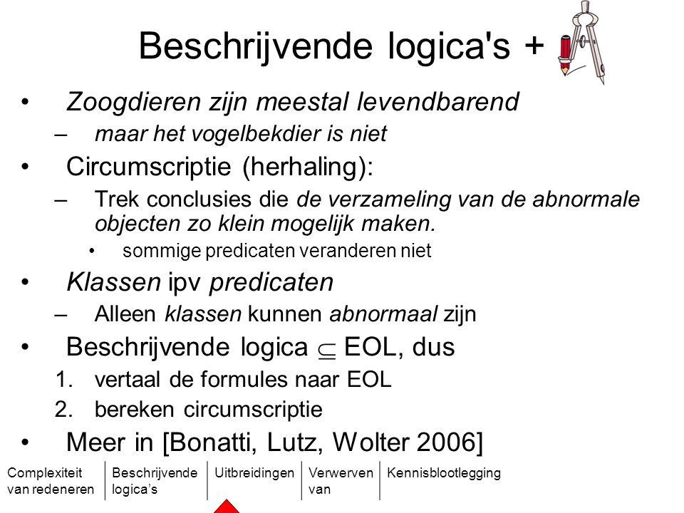 Complexiteit van redeneren Beschrijvende logica's UitbreidingenVerwerven van Kennisblootlegging Beschrijvende logica's + Zoogdieren zijn meestal leven