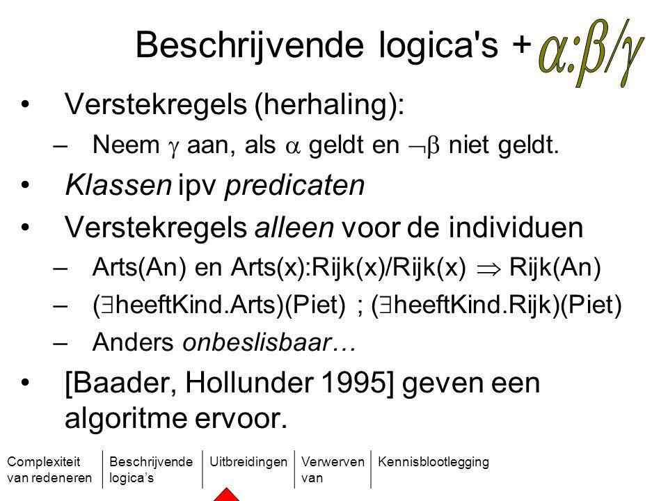 Complexiteit van redeneren Beschrijvende logica's UitbreidingenVerwerven van Kennisblootlegging Beschrijvende logica's + Verstekregels (herhaling): –N