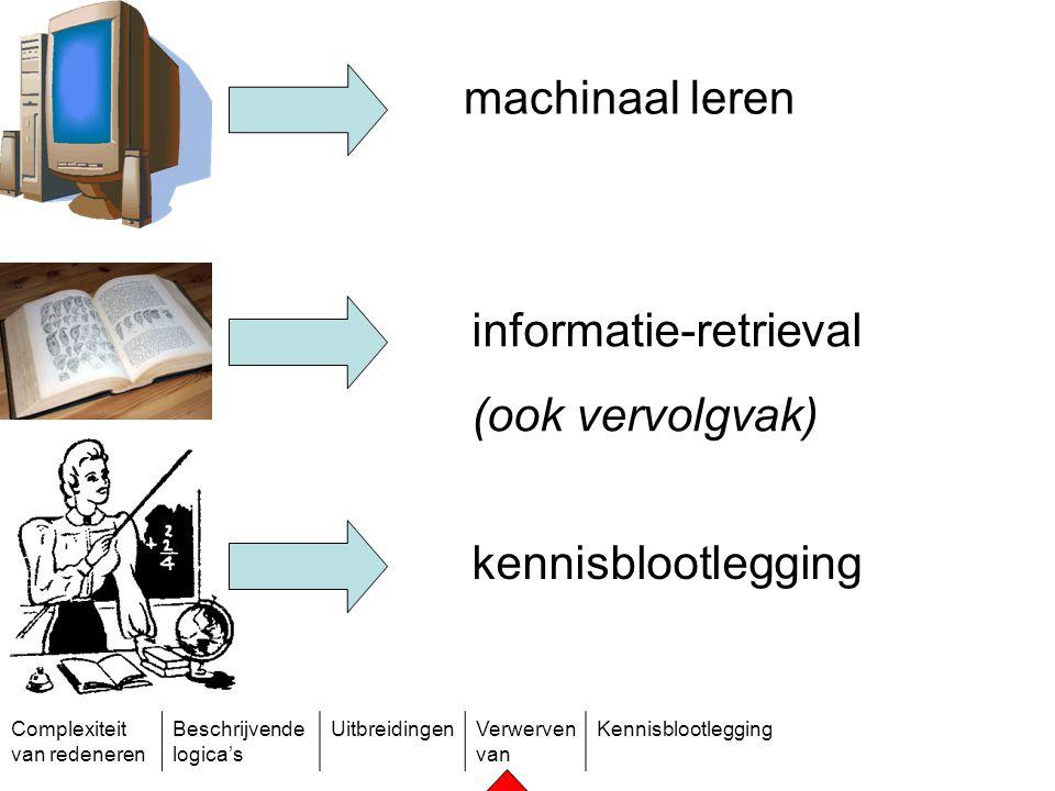 Complexiteit van redeneren Beschrijvende logica's UitbreidingenVerwerven van Kennisblootlegging machinaal leren informatie-retrieval (ook vervolgvak)