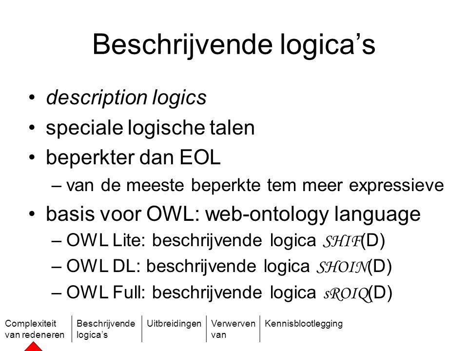 Complexiteit van redeneren Beschrijvende logica's UitbreidingenVerwerven van Kennisblootlegging Een soortgelijk probleem in machinaal leren Gegeven grote verzameling gegevens, vind categorieën waarin ze vallen.