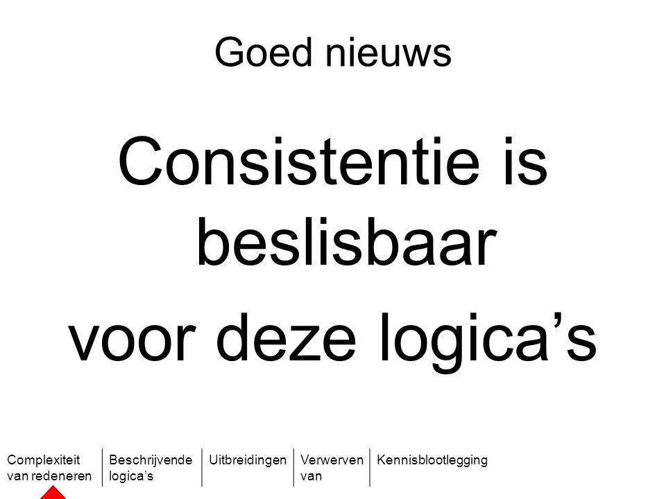 Complexiteit van redeneren Beschrijvende logica's UitbreidingenVerwerven van Kennisblootlegging Goed nieuws Consistentie is beslisbaar voor deze logic