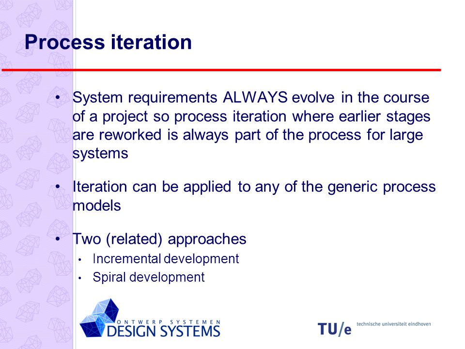 Process iteration System requirements ALWAYS evolve in the course of a project so process iteration where earlier stages are reworked is always part of the process for large systems Iteration can be applied to any of the generic process models Two (related) approaches Incremental development Spiral development
