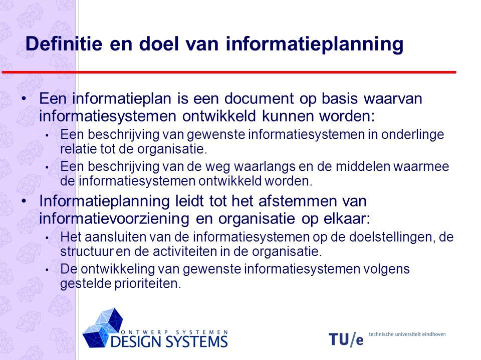 Definitie en doel van informatieplanning Een informatieplan is een document op basis waarvan informatiesystemen ontwikkeld kunnen worden: Een beschrijving van gewenste informatiesystemen in onderlinge relatie tot de organisatie.