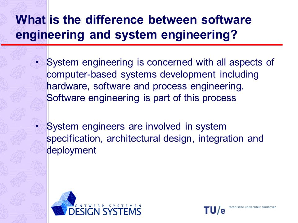 Problems of systems engineering Large systems are usually designed to solve wicked problems Systems engineering requires a great deal of co-ordination across disciplines Almost infinite possibilities for design trade-offs across components Mutual distrust and lack of understanding across engineering disciplines Systems must be designed to last many years in a changing environment