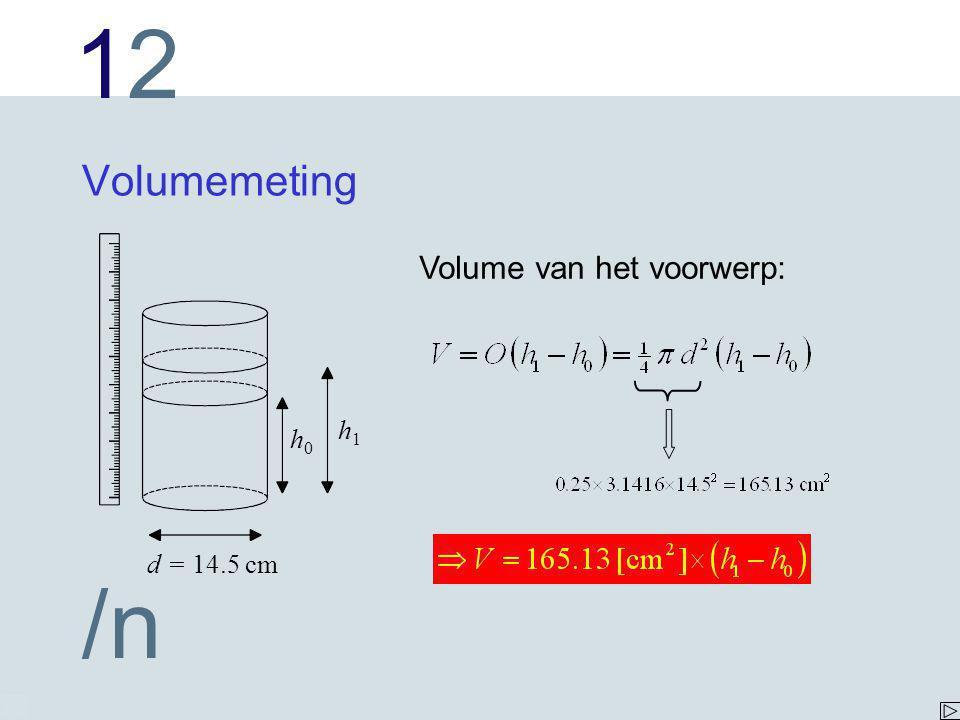 1212 /n Volumemeting h1h1 h0h0 d = 14.5 cm Volume van het voorwerp: