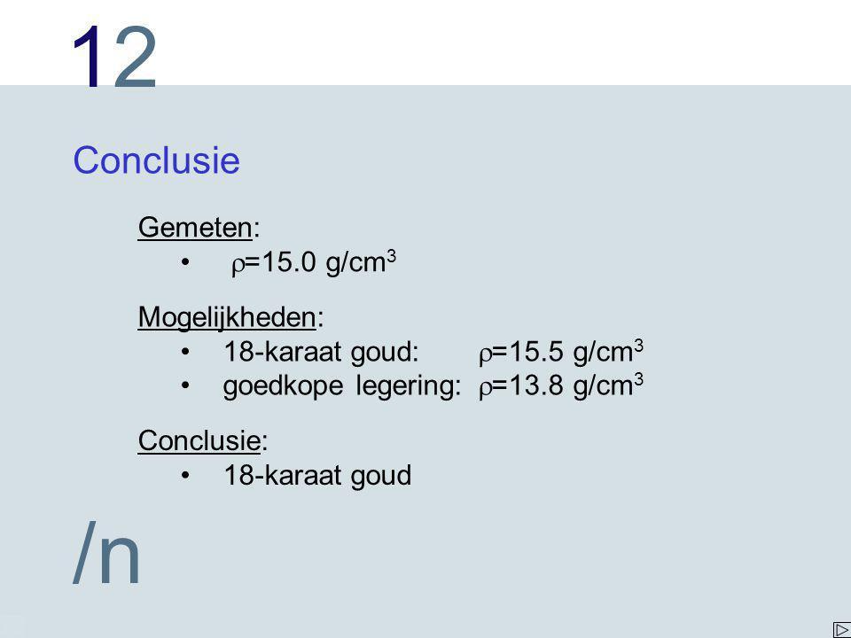 1212 /n Conclusie Mogelijkheden: 18-karaat goud:  =15.5 g/cm 3 goedkope legering:  =13.8 g/cm 3 Gemeten:  =15.0 g/cm 3 Conclusie: 18-karaat goud