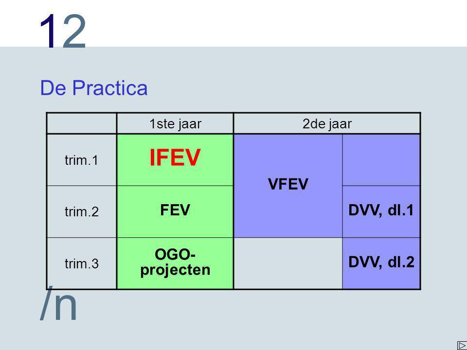 1212 /n De Practica 1ste jaar2de jaar trim.1 IFEV VFEV trim.2 FEVDVV, dl.1 trim.3 OGO- projecten DVV, dl.2