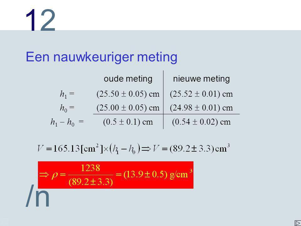 1212 /n Een nauwkeuriger meting oude metingnieuwe meting h 1 = (25.50  0.05) cm(25.52  0.01) cm h 0 = (25.00  0.05) cm(24.98  0.01) cm h 1  h 0 =(0.5  0.1) cm(0.54  0.02) cm