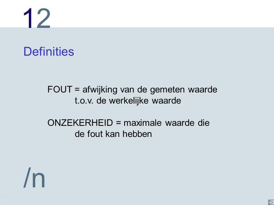 1212 /n Definities FOUT = afwijking van de gemeten waarde t.o.v.