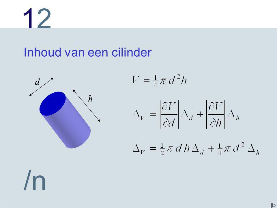 1212 /n Inhoud van een cilinder h d