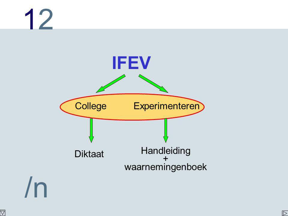 1212 /n IFEV CollegeExperimenteren Diktaat Handleiding + waarnemingenboek