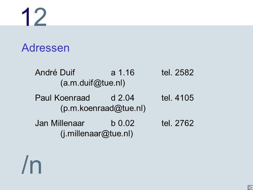 1212 /n Adressen André Duifa 1.16tel.2582 (a.m.duif@tue.nl) Paul Koenraadd 2.04tel.