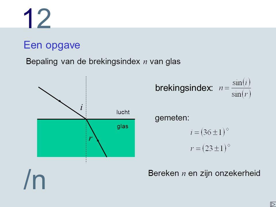 1212 /n Een opgave Bepaling van de brekingsindex n van glas i r lucht glas brekingsindex: gemeten: Bereken n en zijn onzekerheid