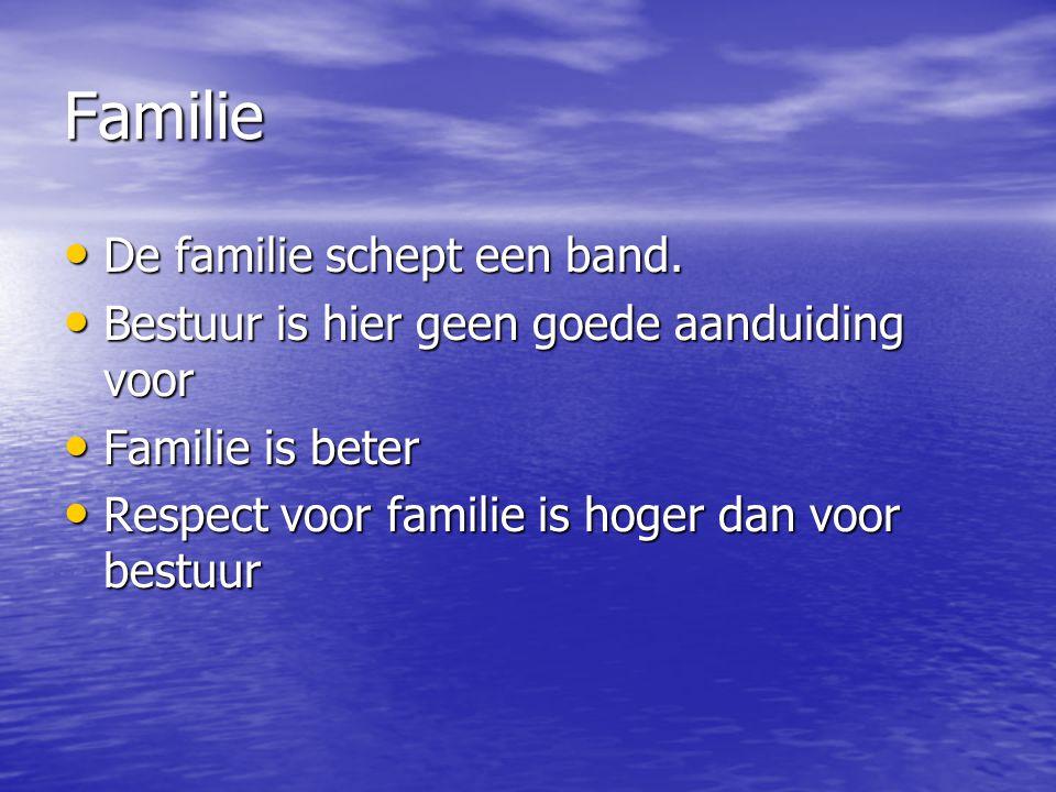 Familie De familie schept een band. De familie schept een band. Bestuur is hier geen goede aanduiding voor Bestuur is hier geen goede aanduiding voor