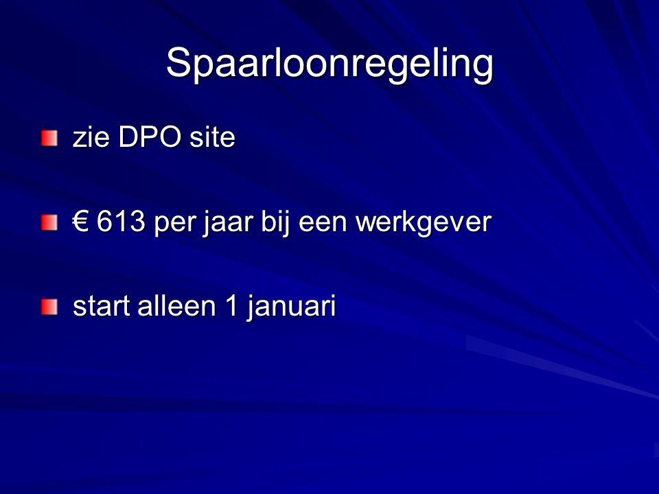Spaarloonregeling zie DPO site zie DPO site € 613 per jaar bij een werkgever € 613 per jaar bij een werkgever start alleen 1 januari start alleen 1 januari