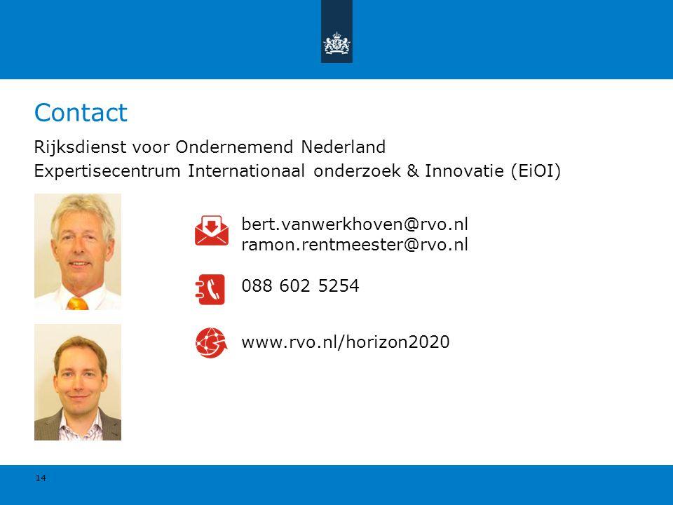 Rijksdienst voor Ondernemend Nederland Expertisecentrum Internationaal onderzoek & Innovatie (EiOI) 14 www.rvo.nl/horizon2020 bert.vanwerkhoven@rvo.nl