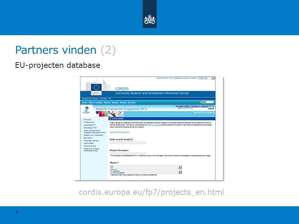 EU-projecten database Partners vinden (2) 6 cordis.europa.eu/fp7/projects_en.html