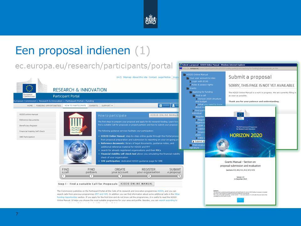 Een proposal indienen (1) ec.europa.eu/research/participants/portal 7
