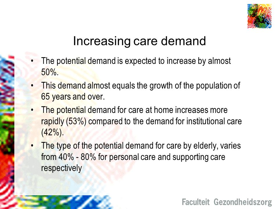 Availability of professional carers The need for professional care givers increases every year, by 2% on average.