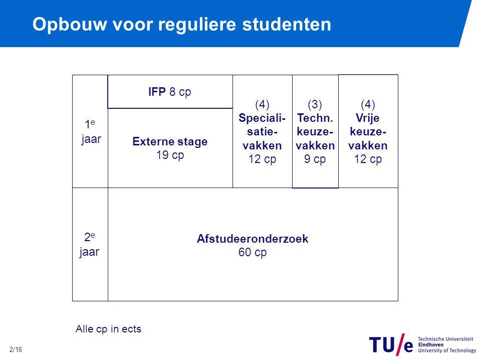 2/16 Opbouw voor reguliere studenten 1 e jaar IFP 8 cp (4) Speciali- satie- vakken 12 cp (3) Techn.