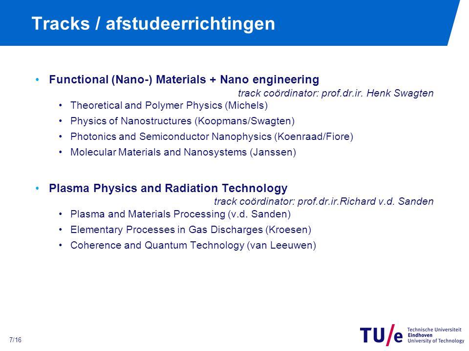 8/16 Tracks / afstudeerrichtingen Physics of Transports in Fluids trackcoördinator: prof.dr.ir.