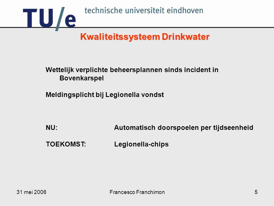 31 mei 2006Francesco Franchimon5 Wettelijk verplichte beheersplannen sinds incident in Bovenkarspel Meldingsplicht bij Legionella vondst NU: Automatis