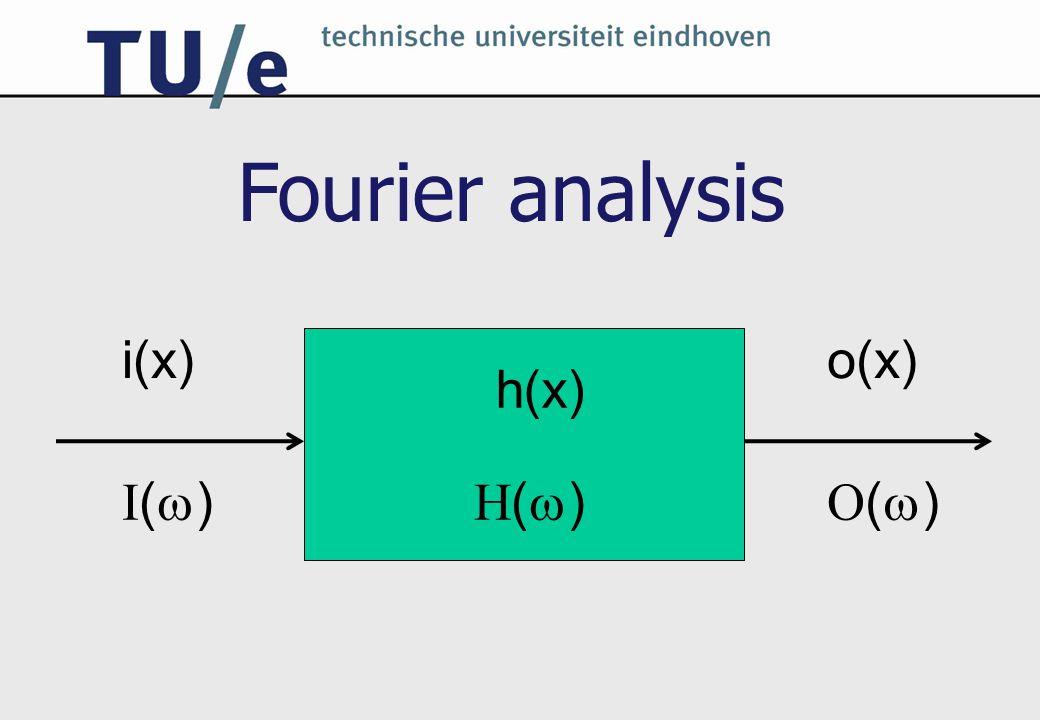i(x) I()I() o(x) O()O() h(x) H()H() Fourier analysis