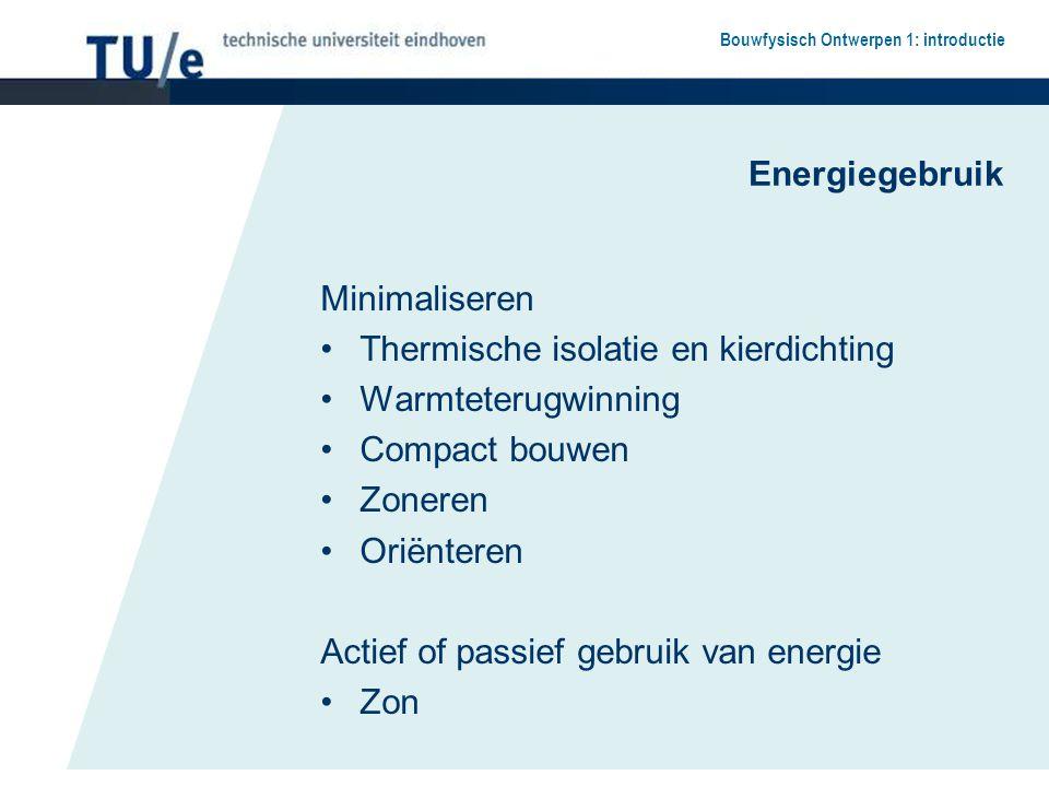 Bouwfysisch Ontwerpen 1: introductie Energiegebruik Minimaliseren Thermische isolatie en kierdichting Warmteterugwinning Compact bouwen Zoneren Oriënt