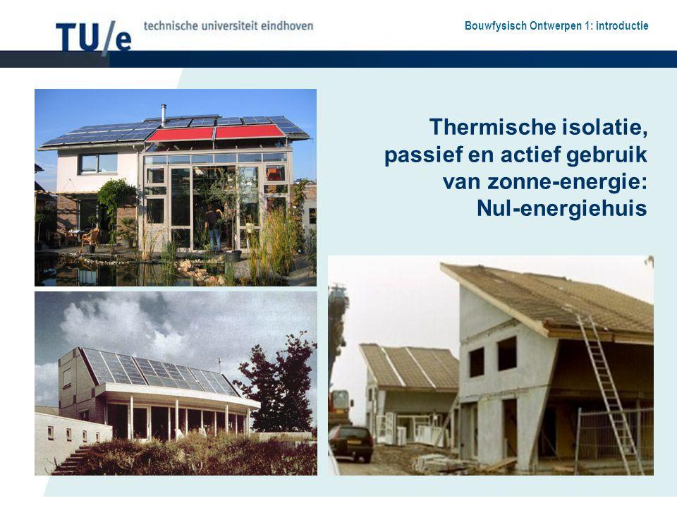 Bouwfysisch Ontwerpen 1: introductie Thermische isolatie, passief en actief gebruik van zonne-energie: Nul-energiehuis