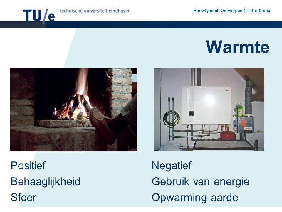 Bouwfysisch Ontwerpen 1: introductie Warmte PositiefNegatief Behaaglijkheid Gebruik van energie SfeerOpwarming aarde