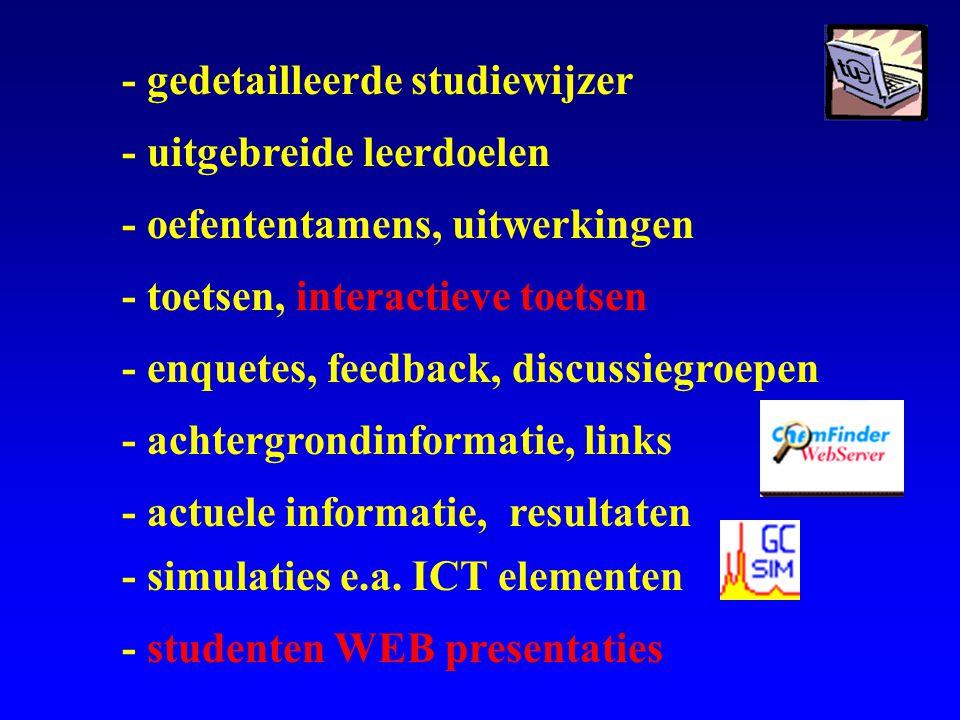 - gedetailleerde studiewijzer - uitgebreide leerdoelen - oefententamens, uitwerkingen - toetsen, interactieve toetsen - enquetes, feedback, discussiegroepen - achtergrondinformatie, links - actuele informatie, resultaten - simulaties e.a.