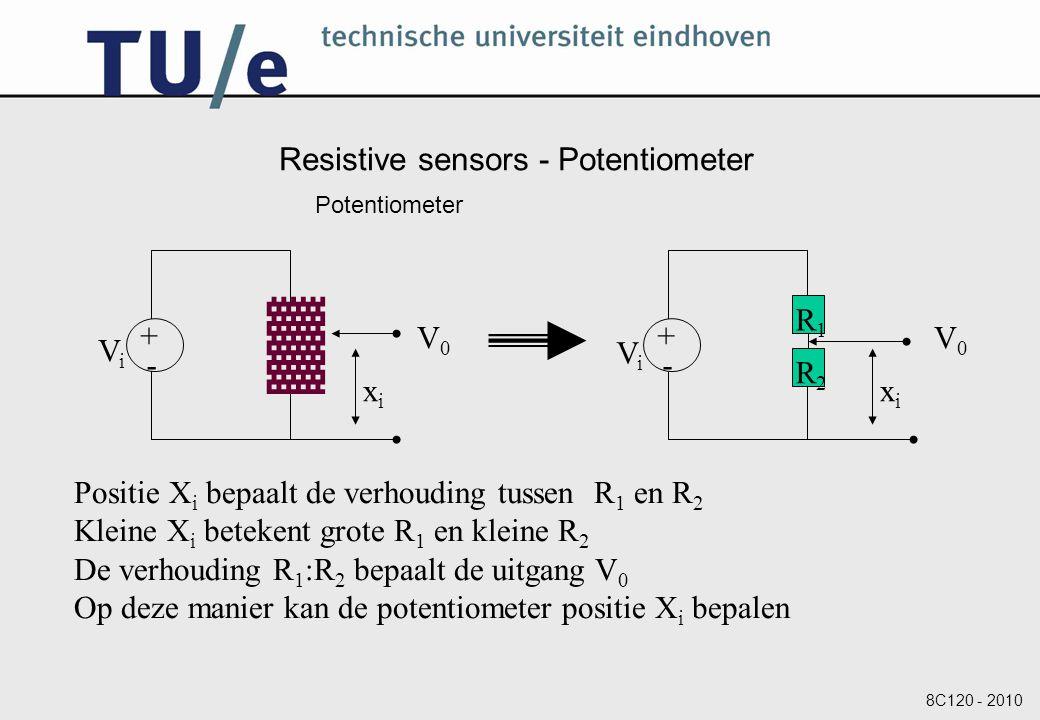 8C120 - 2010 Resistive sensors - Potentiometer Potentiometer + - ▓ ViVi V0V0 xixi + - ViVi V0V0 xixi R1R1 R2R2 Positie X i bepaalt de verhouding tussen R 1 en R 2 Kleine X i betekent grote R 1 en kleine R 2 De verhouding R 1 :R 2 bepaalt de uitgang V 0 Op deze manier kan de potentiometer positie X i bepalen