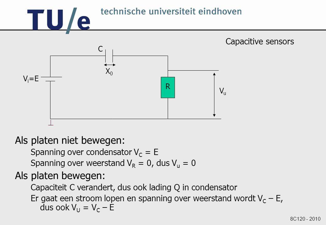 8C120 - 2010 Capacitive sensors Als platen niet bewegen: Spanning over condensator V C = E Spanning over weerstand V R = 0, dus V u = 0 Als platen bewegen: Capaciteit C verandert, dus ook lading Q in condensator Er gaat een stroom lopen en spanning over weerstand wordt V C – E, dus ook V U = V C – E V i =E C R  VuVu X0X0