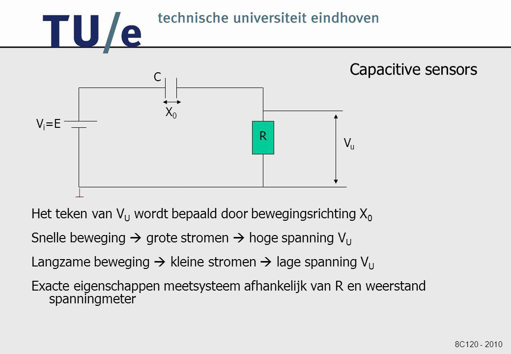 8C120 - 2010 Capacitive sensors Het teken van V U wordt bepaald door bewegingsrichting X 0 Snelle beweging  grote stromen  hoge spanning V U Langzame beweging  kleine stromen  lage spanning V U Exacte eigenschappen meetsysteem afhankelijk van R en weerstand spanningmeter V i =E C R  VuVu X0X0
