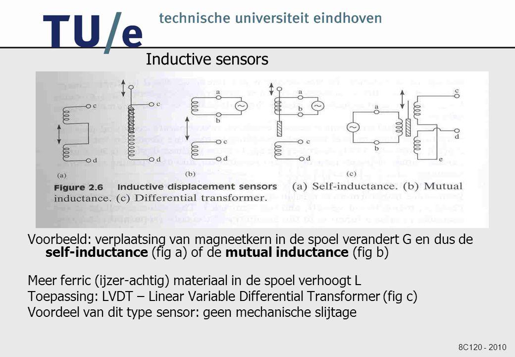 8C120 - 2010 Inductive sensors Voorbeeld: verplaatsing van magneetkern in de spoel verandert G en dus de self-inductance (fig a) of de mutual inductance (fig b) Meer ferric (ijzer-achtig) materiaal in de spoel verhoogt L Toepassing: LVDT – Linear Variable Differential Transformer (fig c) Voordeel van dit type sensor: geen mechanische slijtage