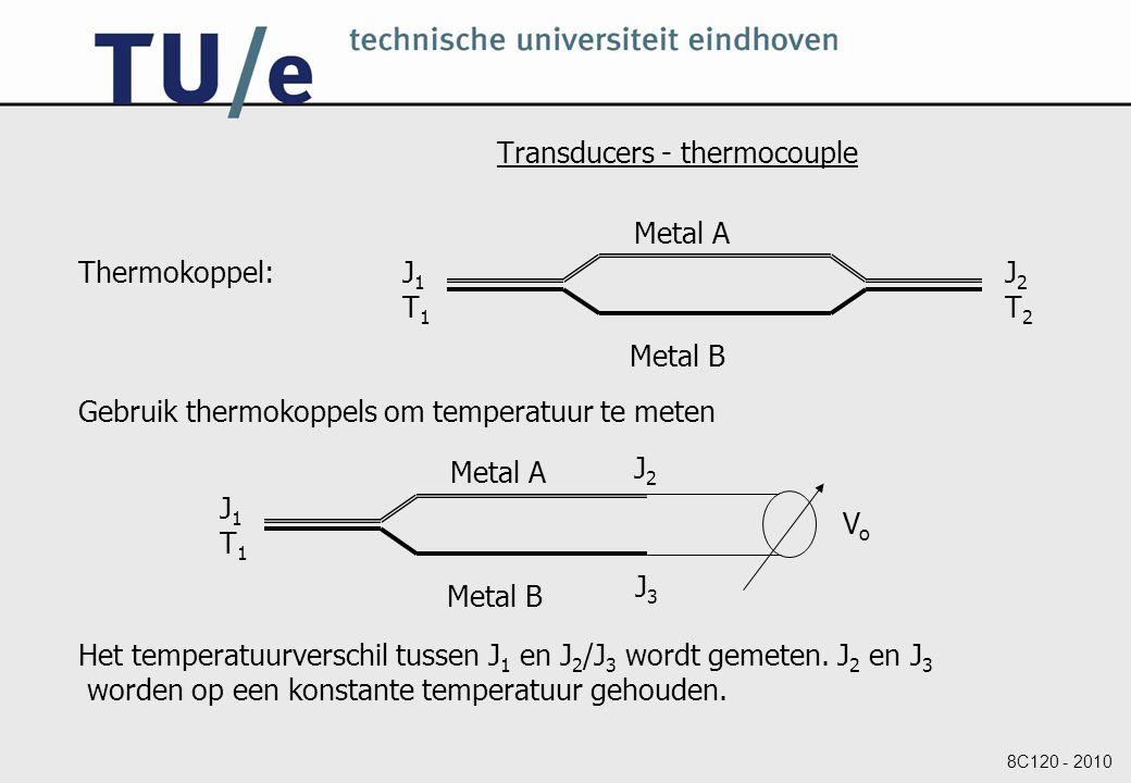 8C120 - 2010 Transducers - thermocouple Thermokoppel: Gebruik thermokoppels om temperatuur te meten Het temperatuurverschil tussen J 1 en J 2 /J 3 wordt gemeten.