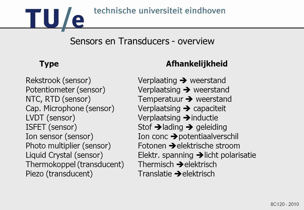 8C120 - 2010 Sensors en Transducers - overview Type Afhankelijkheid Rekstrook (sensor)Verplaating  weerstand Potentiometer (sensor)Verplaatsing  weerstand NTC, RTD (sensor)Temperatuur  weerstand Cap.