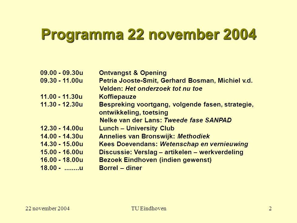 22 november 2004TU Eindhoven2 Programma 22 november 2004 09.00 - 09.30u Ontvangst & Opening 09.30 - 11.00u Petria Jooste-Smit, Gerhard Bosman, Michiel v.d.