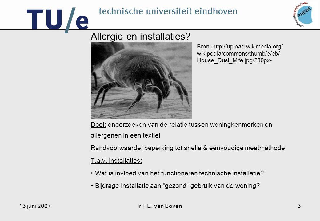 13 juni 2007Ir F.E. van Boven3 Allergie en installaties? … Doel: onderzoeken van de relatie tussen woningkenmerken en allergenen in een textiel Randvo