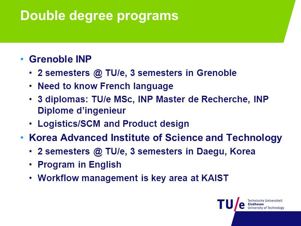 Double degree programs Grenoble INP 2 semesters @ TU/e, 3 semesters in Grenoble Need to know French language 3 diplomas: TU/e MSc, INP Master de Reche