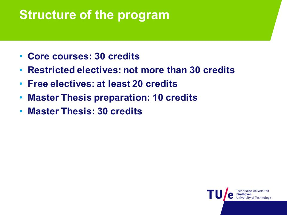 Structure of the program Core courses: 30 credits Performance Enhancement (5) Management Accounting (5) Philosophy of Science (5) Research Design, Data Collection and Analysis (5) One out of two: Business Process Management (5) ICT Architectures of Enterprise Information Systems (5) One out of two: Modeling & Analysis of Manufacturing Systems (5) Supply Chain Operations Planning (5) Restricted electives: not more than 30 credits Free electives: at least 20 credits Master Thesis preparation: 10 credits Master Thesis: 30 credits
